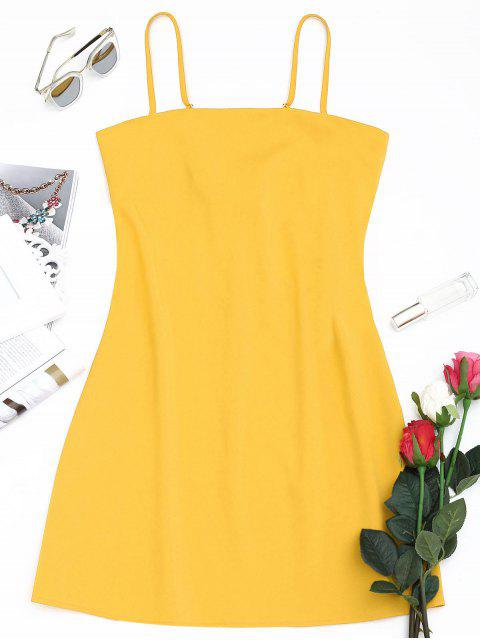 womens Tied Bowknot Back Mni Cami Dress - YELLOW S Mobile