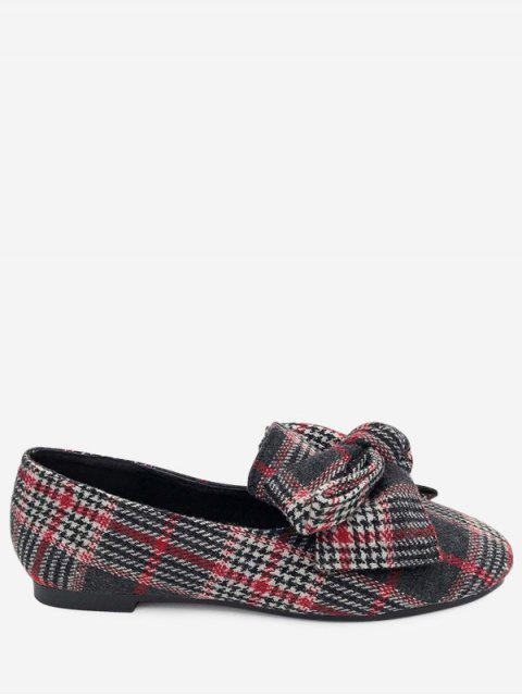 Bow Houndstooth Tartan Tweed Ballerinas - Rot 40 Mobile