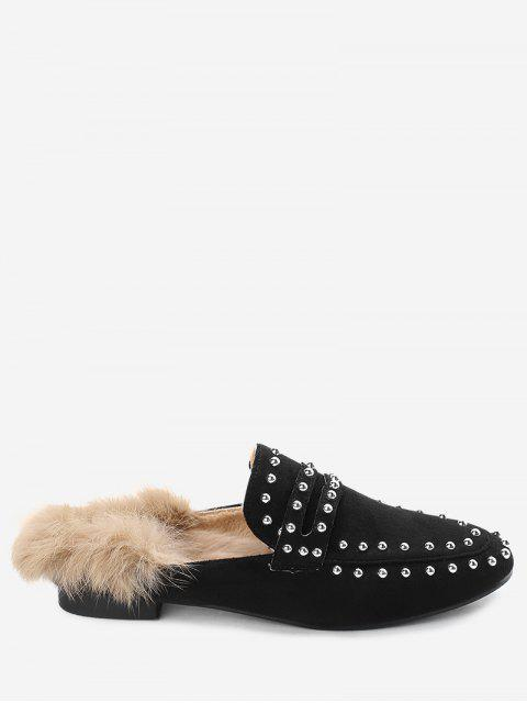best Faux Fur Rivets Flats - BLACK 37 Mobile