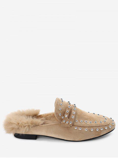 best Faux Fur Rivets Flats - APRICOT 35 Mobile