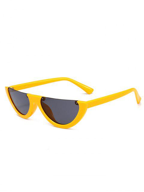 fashion Anti-fatigue Half Frame Cat Eye Sunglasses - YELLOW  Mobile