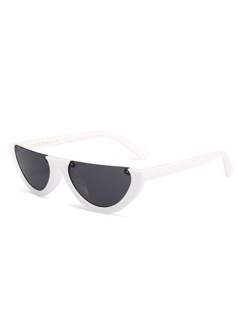 Anti-Müdigkeit Half Frame Cat Eye Sonnenbrille - Grau & Weiß  Mobile