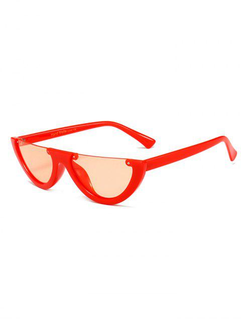 women Anti-fatigue Half Frame Cat Eye Sunglasses - WATERMELON RED  Mobile