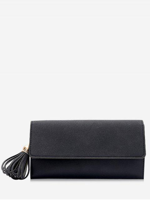 women Tassel Pendant Long Wallet - BLACK  Mobile