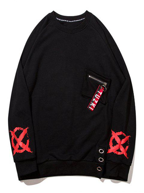 new Zipper Design Pocket Graphic Sweatshirt - BLACK 2XL Mobile