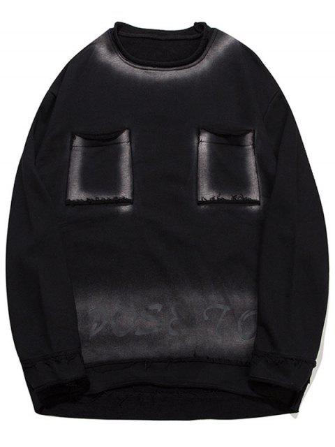 lady Letter Ombre Pockets Sweatshirt - BLACK M Mobile