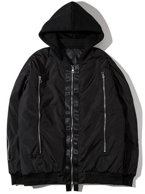 shop Hooded Graphic Padded Bomber Jacket - BLACK M Mobile
