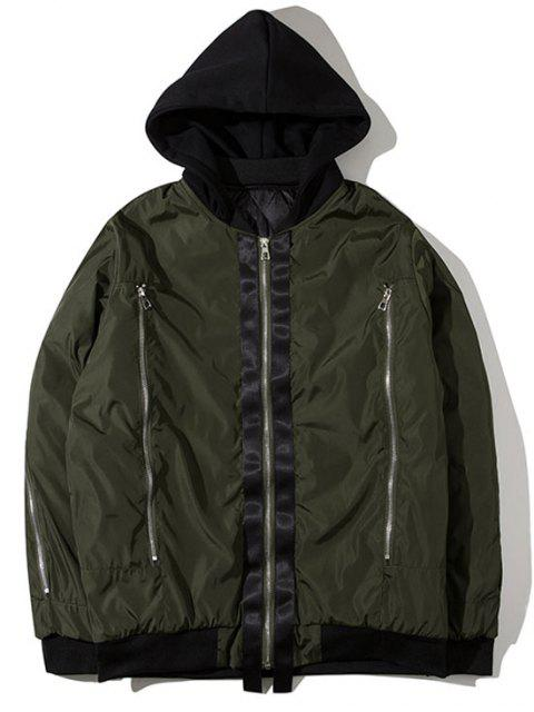 trendy Hooded Graphic Padded Bomber Jacket - ARMY GREEN XL Mobile