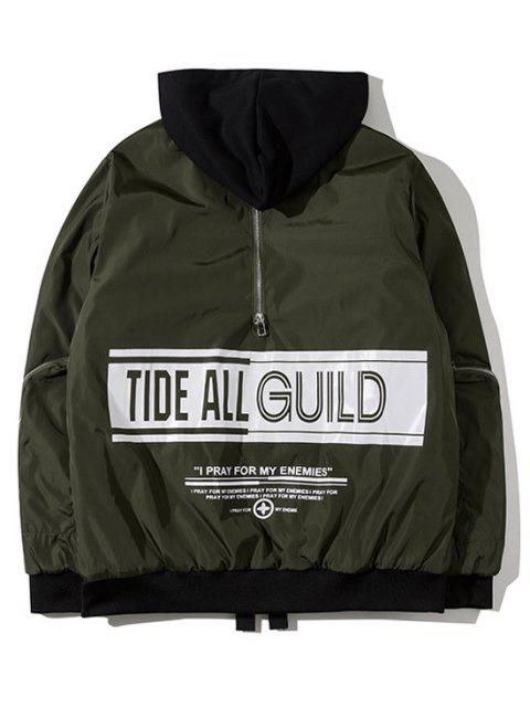 fancy Hooded Graphic Padded Bomber Jacket - ARMY GREEN M Mobile