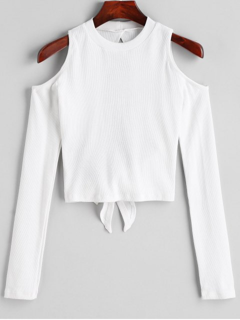 Top de hombros fríos con espalda abierta de punto - Blanco M Mobile