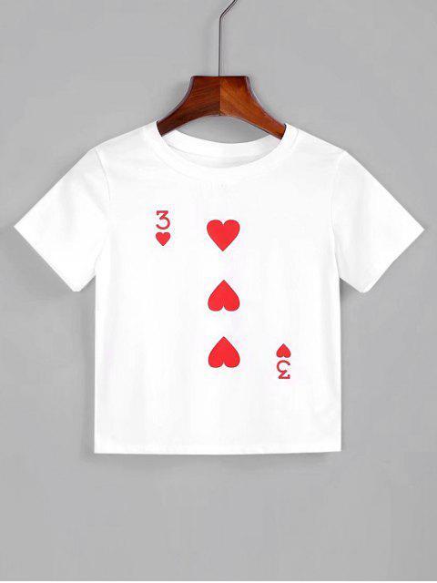 Camiseta cortada corazón de algodón - Blanco M Mobile