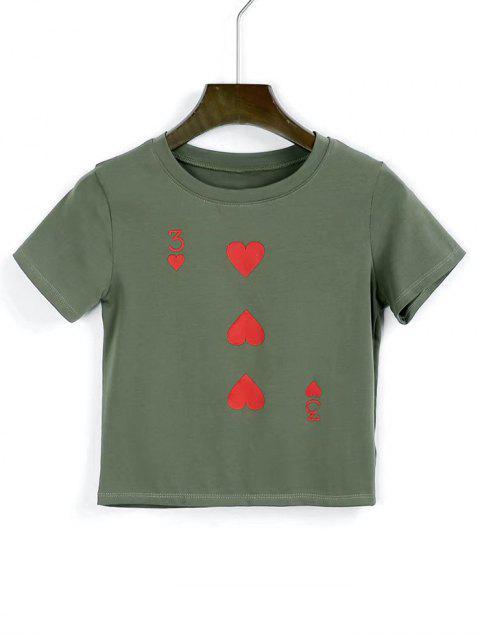 Camiseta cortada corazón de algodón - Verde del ejército S Mobile