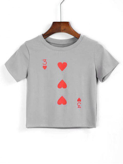 Camiseta cortada corazón de algodón - Gris S Mobile
