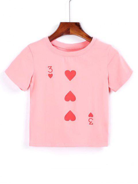 Camiseta cortada corazón de algodón - Rosado M Mobile
