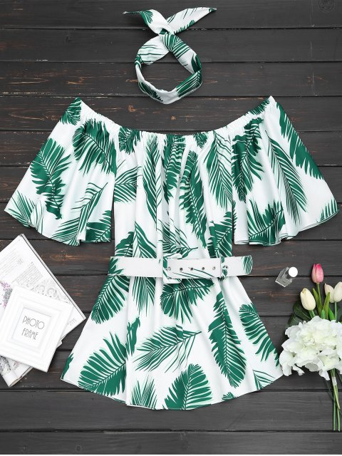 trendy Off Shoulder Leaves Print Choker Belted Dress - GREEN M Mobile