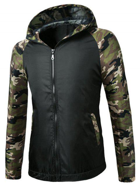 unique Raglan Sleeve Camo Hooded Lightweight Jacket - BLACK S Mobile