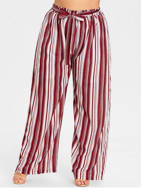 lady Plus Size Striped Wide Leg Pants - RED STRIPES XL Mobile