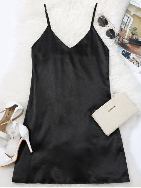 affordable Cami Mini Summer Dress - BLACK L Mobile
