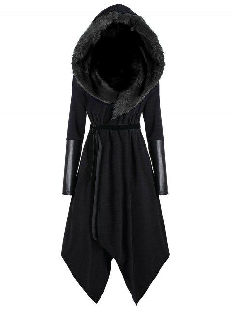 fancy Plus Size Faux Fur Insert Hooded Asymmetric Coat - BLACK 3XL Mobile