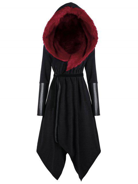 latest Plus Size Faux Fur Insert Hooded Asymmetric Coat - BLACK&RED 2XL Mobile