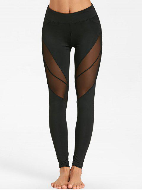 lady See Through Mesh Panel Yoga Tights - BLACK L Mobile