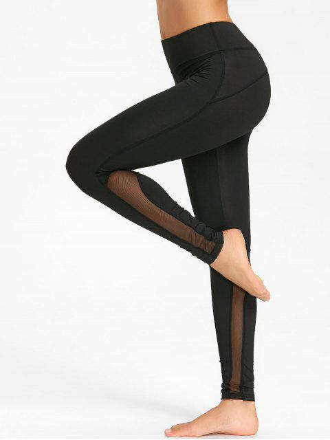online Skinny Mesh Insert Workout Tights - BLACK S Mobile