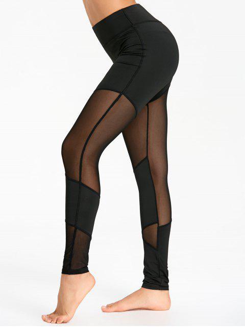 hot See Through Mesh Panel Yoga Leggings - BLACK S Mobile