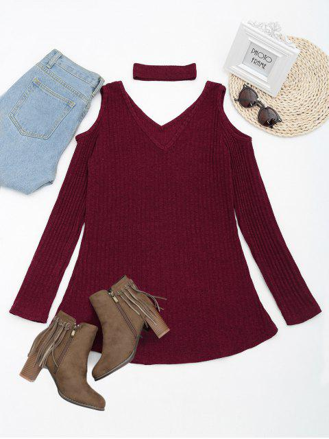 new Cold Shoulder Mini Knitted Dress with Choker - WINE RED M Mobile