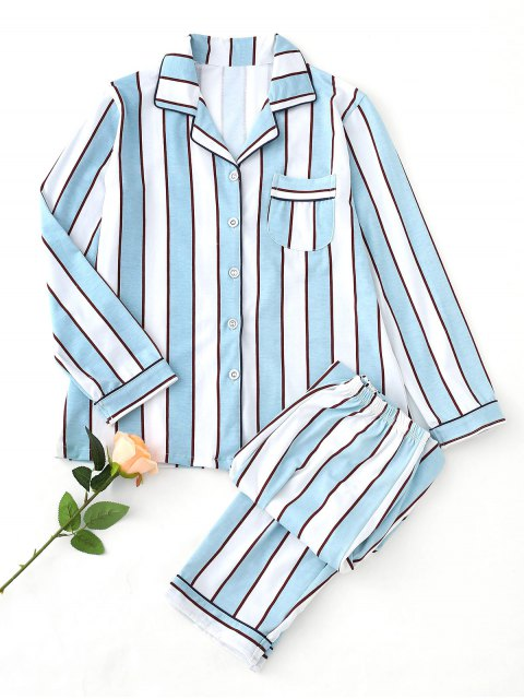 outfits Striped Pajama Set - BLUE AND WHITE XL Mobile