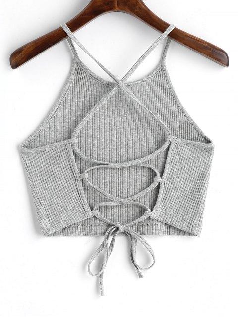 Camiseta Regata Barriga-de-Fora com Enlaçado - Cinzento M Mobile