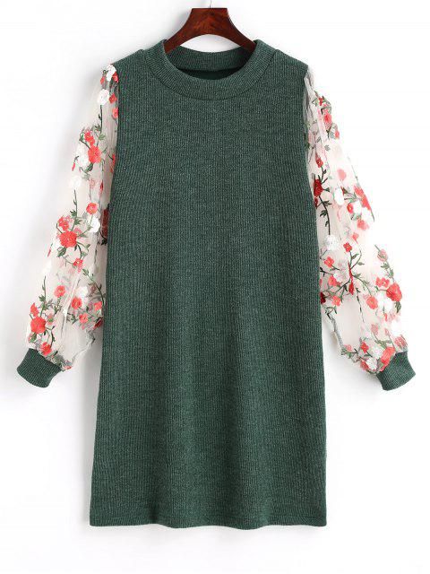 women's Mesh Panel Floral Mini Knitted Dress - GREEN S Mobile