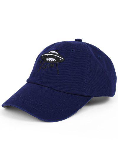 Funny UFO Pattern Decoration Adjustable Baseball Cap - Deep Blue