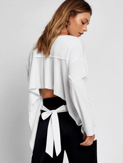 Bow Tied Asymmetrical Cut Out Sweatshirt - White Xl