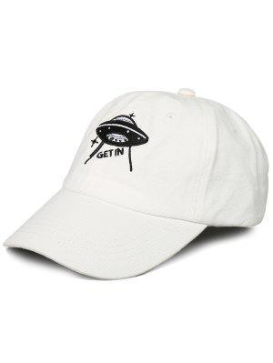 Funny UFO Pattern Decoration Adjustable Baseball Cap - White