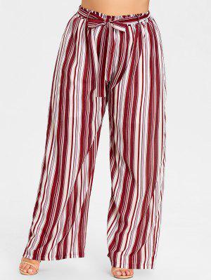 Pantalones de pierna ancha a rayas de talla grande