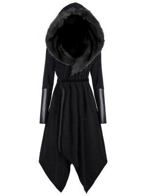 Plus Size Faux Fur Insert Hooded Asymmetric Coat
