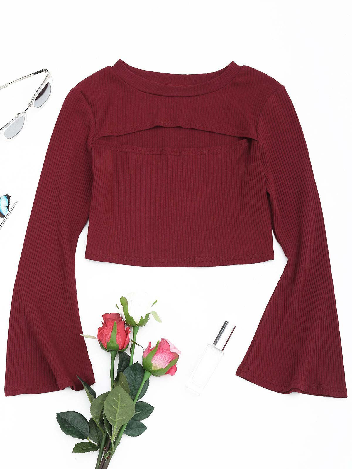 Cut Out Front Flare Sleeve Crop Knitwear 240012812