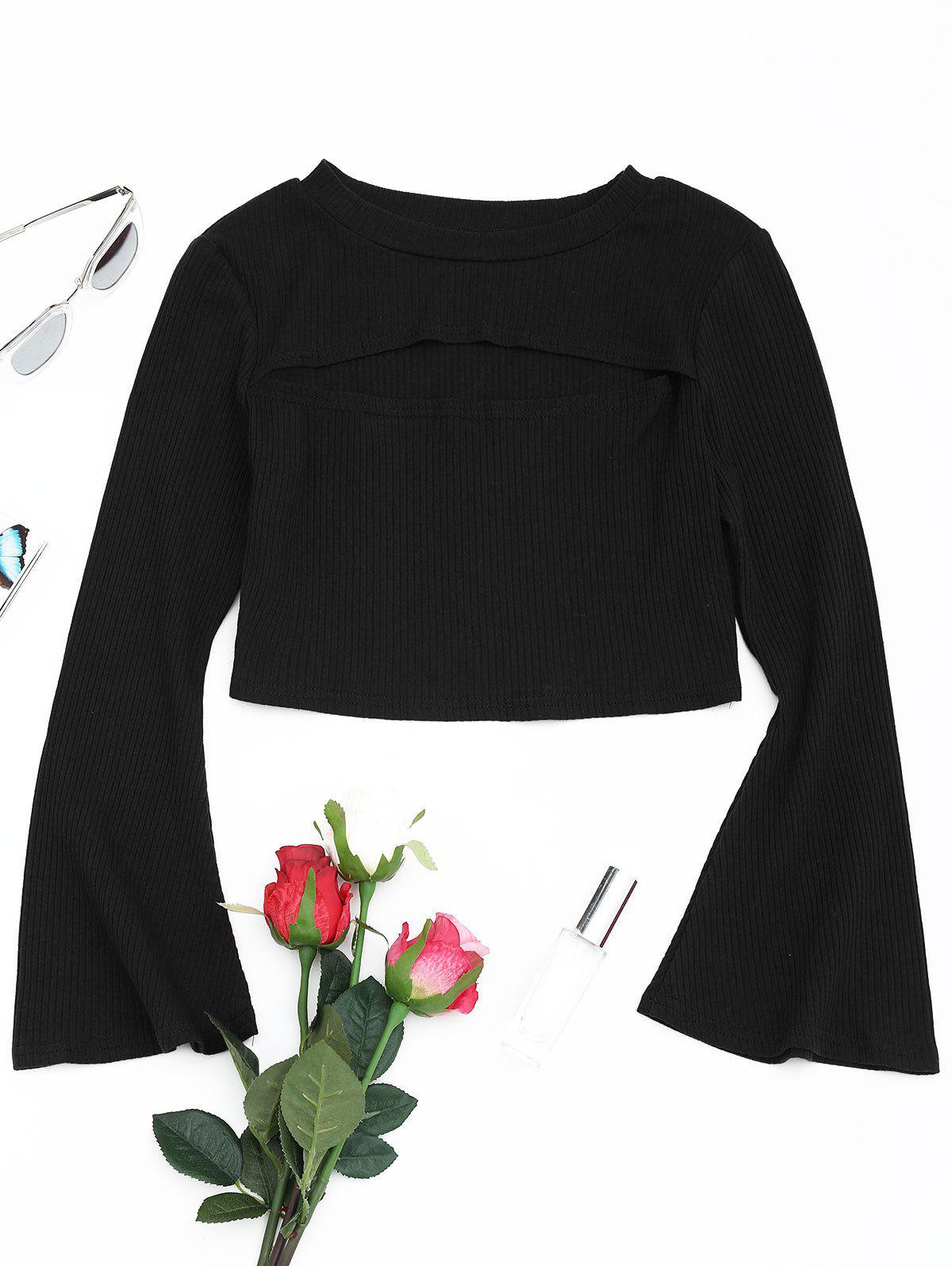 Cut Out Front Flare Sleeve Crop Knitwear 240012801