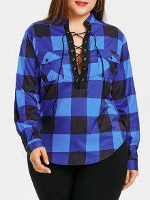 زائد حجم منقوشة الدانتيل يصل قميص - أزرق 5xl
