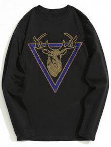 Camiseta Negro Estampado Imitaci De M Con Larga 243;n Manga De Diamantes De qSFrqax