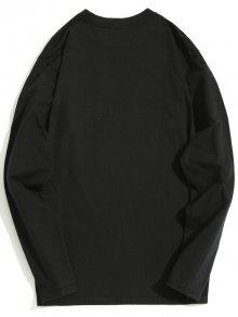 Estampado De De Negro Larga Manga Imitaci Camiseta De Con Diamantes M 243;n wxISnq4U