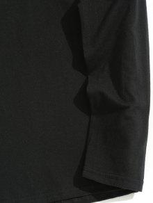 243;n Con Estampado Manga Negro Imitaci Larga Camiseta De M Diamantes De De Sq47nz
