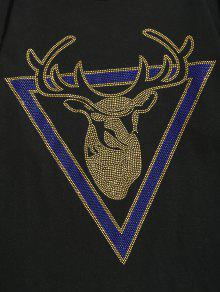 De Camiseta Larga Imitaci Diamantes De 243;n De Estampado Negro Con M Manga SgdwxqrgO