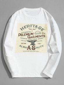 Larga Manga Estampada Camiseta De Algod Xl 243;n De Blanco YHSqH