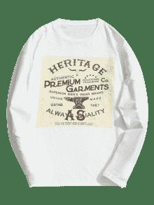 De Camiseta Blanco Xl 243;n Larga Algod De Estampada Manga awqR5vw