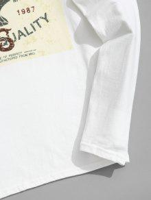 Larga De Camiseta Xl 243;n Algod De Manga Blanco Estampada qYqSB