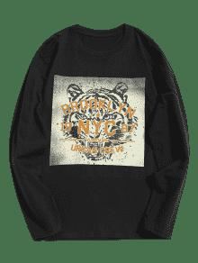 Negro De 2xl Tiger Larga Manga Camiseta Graphic qwxPRXaF
