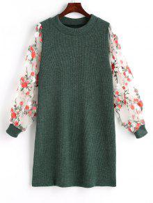 فستان محبوك مصغر طباعة الأزهار شبكي - L