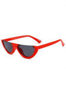 نظارات شمسية مكافحة للتعب بنمط عين القطة بنصف إطار - أحمر غامق