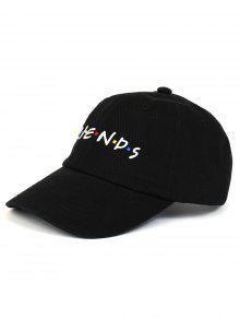 صديق نمط التطريز قابل للتعديل قبعة بيسبول - أسود